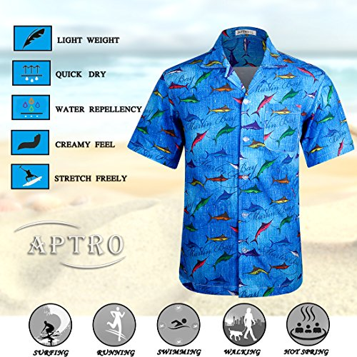 7cab3fb043cc Jual APTRO Men s Hawaiian Shirt Summer Short Sleeve Beach Party ...
