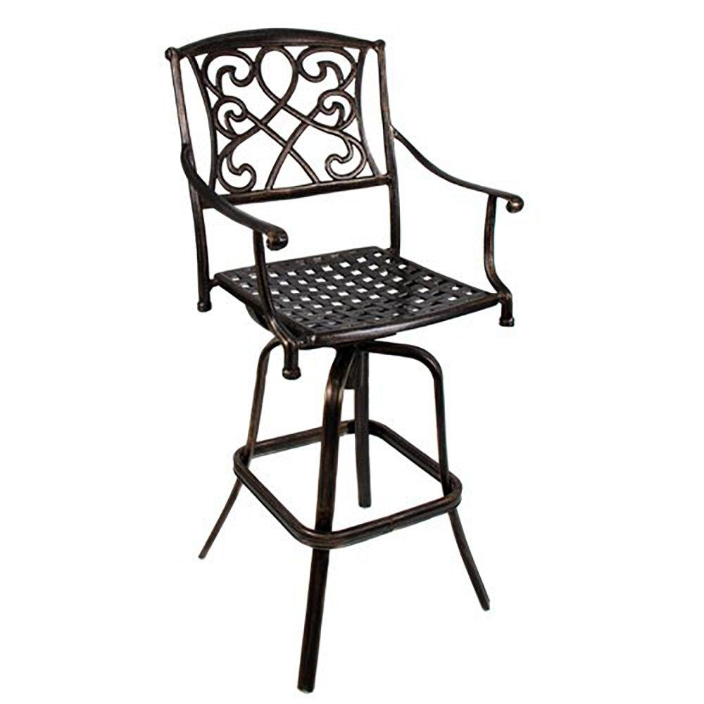 Best Choice Products Outdoor Cast Aluminum Swivel Bar stool Patio Furniture Antique Copper Design
