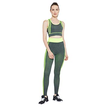 67019896aeb18 Jeval Gym Outfits Breathable Exercise Stretchable Bra and Leggings Sport  Suits High Impact Sports Bra Yoga Pants (Set of 1)  Amazon.in  Sports
