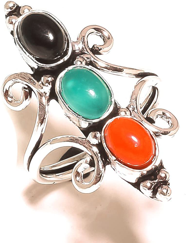Coral Sterling Silver Overlay 5 Grams Ring Size 7.5 US Black Onyx Ethnic Sizable Handmade Jewelry