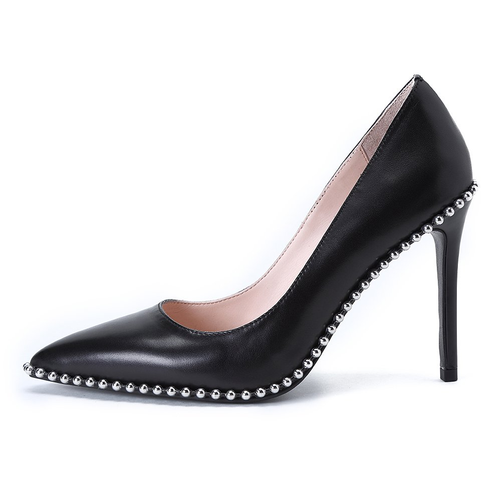 Womens Fashion Pointed Toe Genuine Leather High Heel Slip On Stiletto Pumps Wedding Party Dress Shoes for Ladies (8.5, Black)