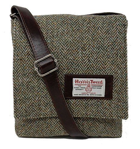 Harris Tweed Messenger Bag with Leather Trim Brown