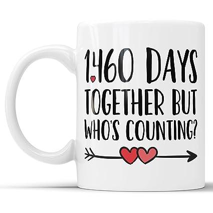 Amazon com: 4th Anniversary Coffee Mug - 1460 Days Together