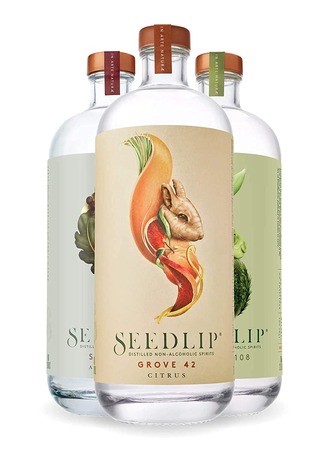 SEEDLIP - Distilled Non-Alcoholic Spirits Trio Pack - Grove 42, Garden 108 and Spice 94 - 23.7 fl oz (Pack of 3)