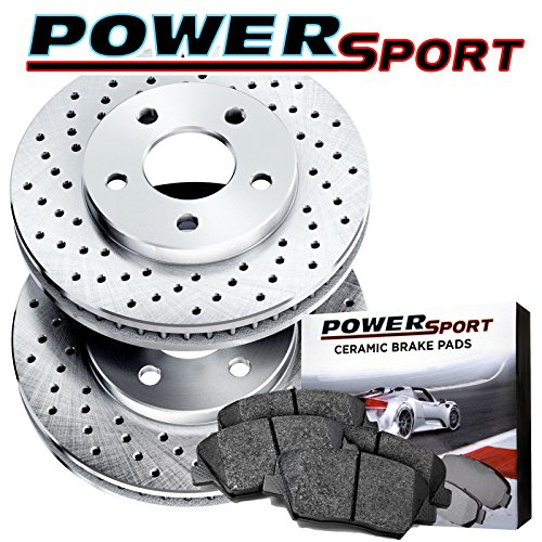 Front Drilled Rotors Disc and Ceramic Brake Pads 2010-2015 Chevrolet - Chevrolet Camaro Front Brake Pads