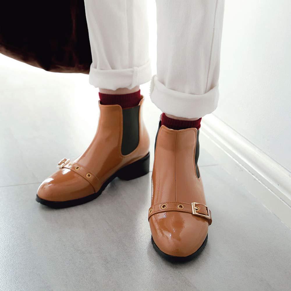 QINGMM Frauen Britischen Stil Chelsea Stiefeletten Stiefel 2018 Herbst Winter Lackleder Stiefeletten Chelsea Größe a913f4