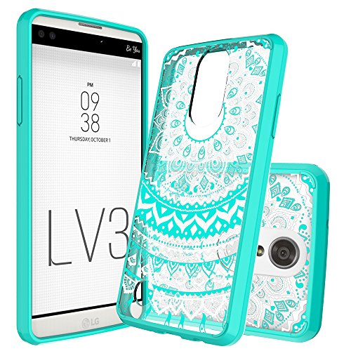 LG Aristo (MS210) / LG LV3 / LG K8 2017 Clear Case with HD Screen Protector,AnoKe [Scratch Resistant] Mandala Flower Hard Cover With Rubber TPU Bumper Hybrid For LG V3/MS210 CH TM CH Mint