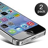 Pellicola Vetro Temperato iPhone SE/ 5/ 5S Coolreall® 2 Pack Pellicola Protettiva Film Screen Protector Ultra Resistente (0,25mm HD Alta trasparente)