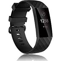 MH MOIHSING Compatible with Fitbit Charge 3 Bands, Soft Silicone Replacement Wristbands for Fitbit Charge 3 / Charge 4…