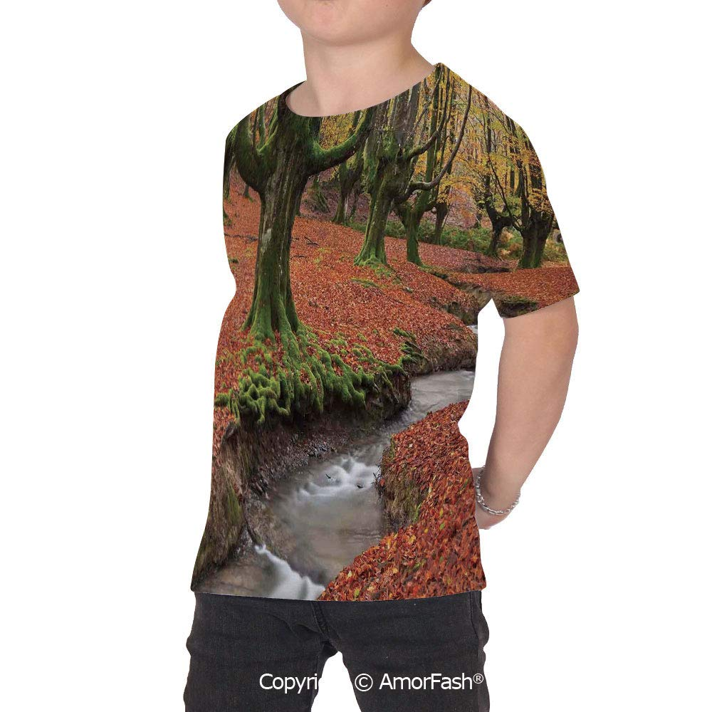 Landscape Distinctive Childrens Premium Polyester T-Shirt,XS-2XL,Flowing Stream