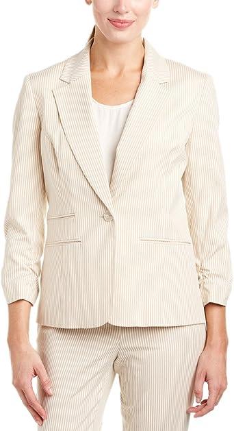Amazon Com Nine West Women S 1 Button Seersucker Jacket Clothing