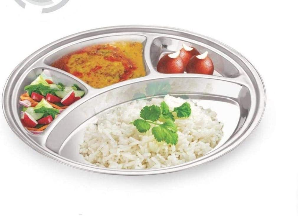 Toddlers Kitchen Dining Table Plate Children Kids WhopperIndia Stainless Steel Round Dining Plate 4 Compartment Thali