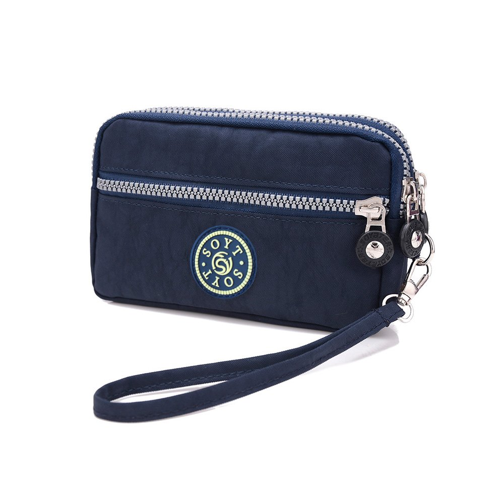 4746e33f780c XUEREY Dual Layers Zipper Purse Waterproof Nylon Wristlet Bag Clutch  Handbag Cell Phone Pouch (Navy)