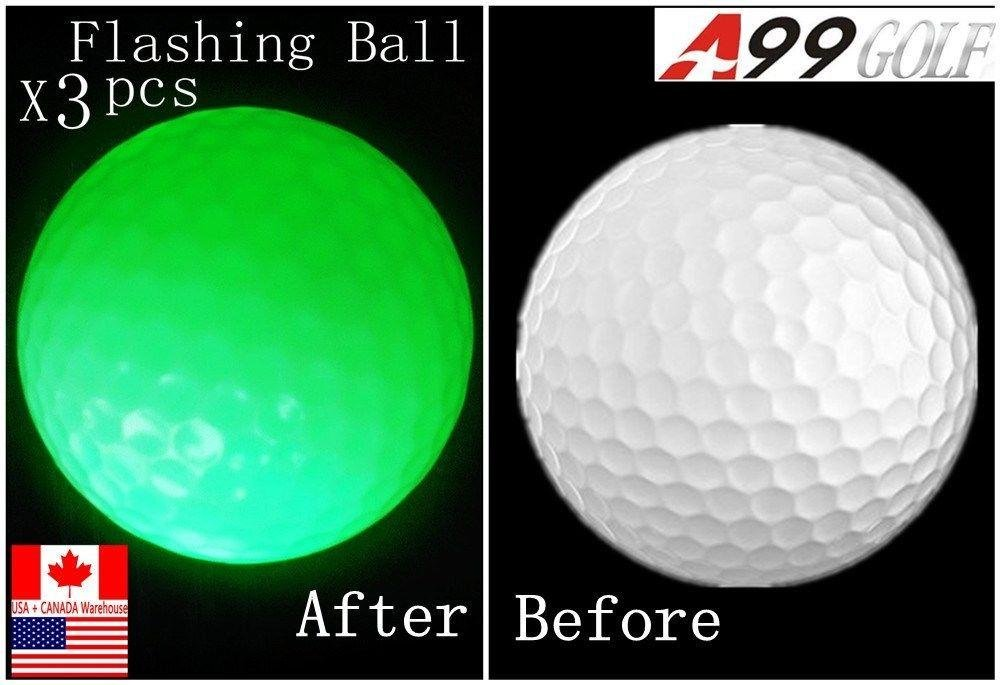 3pcs/set A99 Golf Practice aid gift set 1 crystal ball+1 flashing ball Green+ 1 floater ball, packed in PVC Box by A99 Golf (Image #2)