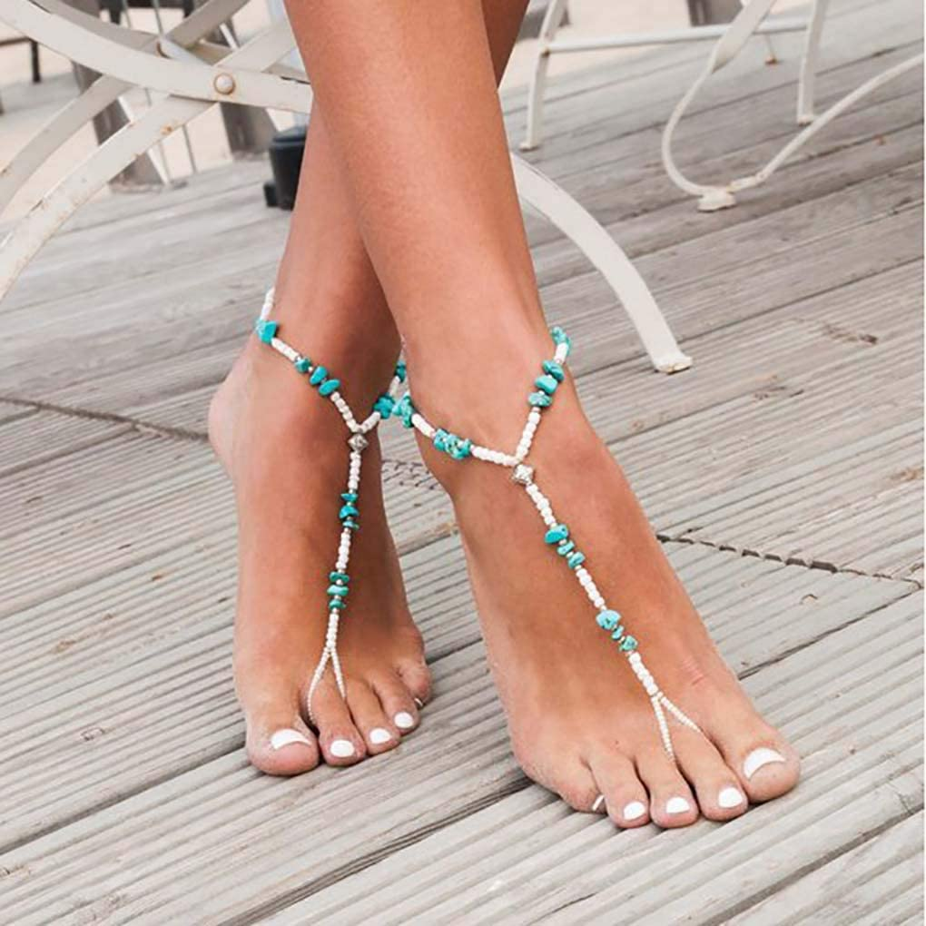 Ursumy Boho Anklets Jewelry Barefoot Sandals with Turquoise Foot Chain Diamond Ankle Bracelet for Women and Girls 2Pcs