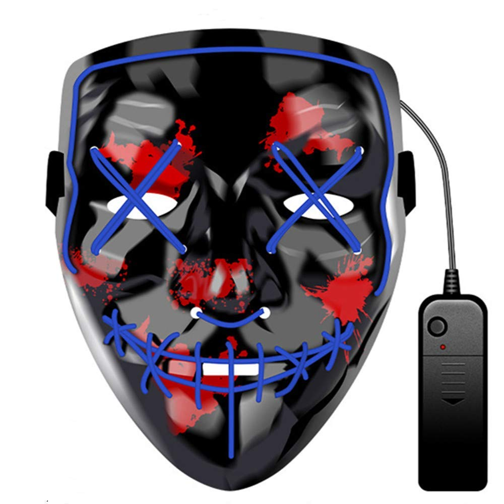 Halloween LED Mask LED Light Up Mask Purge Scary Masks Festival Cosplay Costume Mask for Adults Kids Party Decoration Props