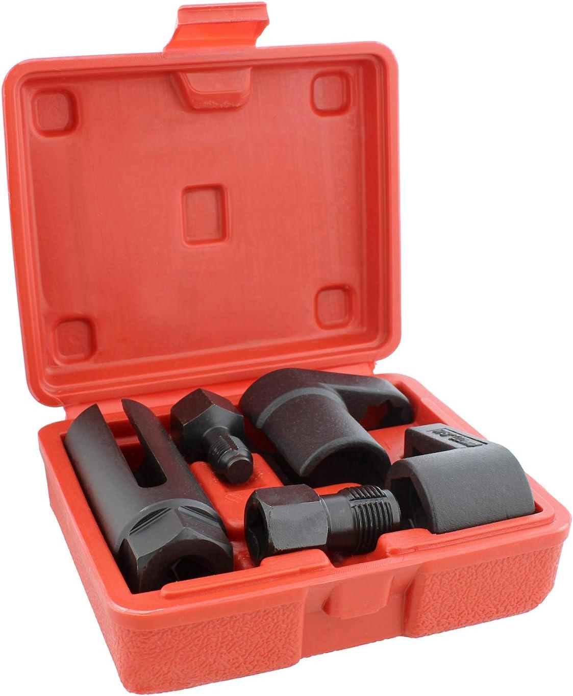 ABN O2 Sensor Socket Tool for Oxygen Sensor 5pc Kit - 22mm Oxygen Sensor Socket and Vacuum Socket with Thread Chaser Set