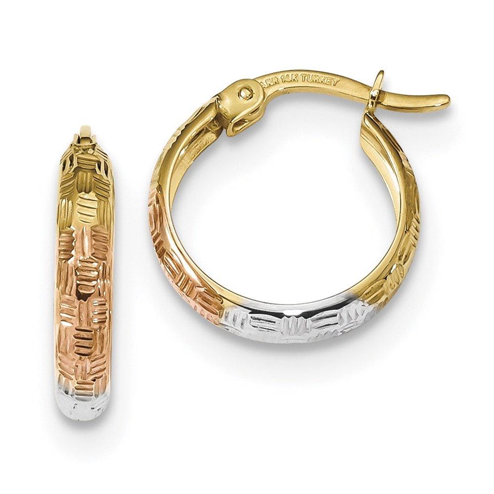 Lex /& Lu 14k Yellow Gold White /& Rose Rhodium-plated D//C Hoop Earrings LAL118884