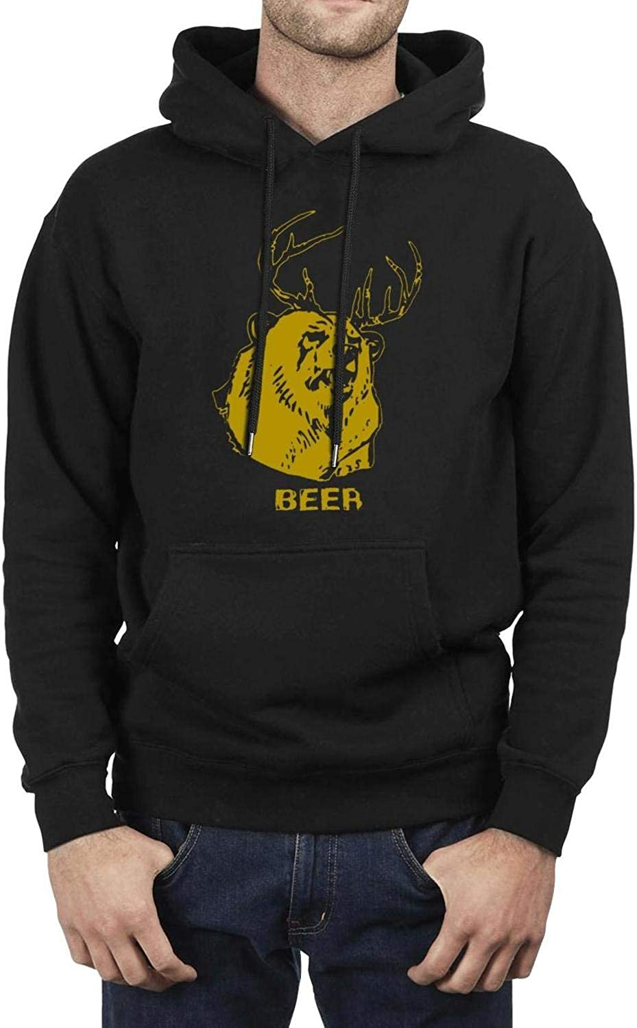 BingGuiC Mens Fleece Hoodie Deer Beer Logo Wool Warm Soft Winter Gift Pullover Hooded Sweatshirt