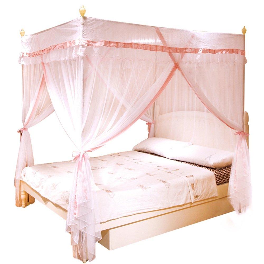 Moskitonetze MEIDUO Rosa Double Bed Mosquito Nets Prinzessin Square Top Drei offene Tür Prinzessin Nets Mosquito Netze Edelstahl Stent Mosquito Netze für 1,5m Bett 6cad15