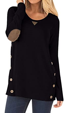 d97c7e4a923 Womens Round Neck Long Sleeve Blouse Cotton Casual Solid Color Tunic Tops  with Bottons (Black