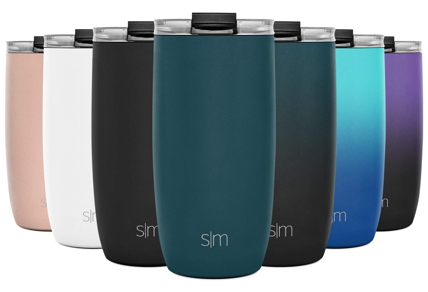 Simple Modern 16oz Voyager Travel Mug Tumbler w/Clear Flip Lid & Straw - Coffee Cup Vacuum Insulated Flask 18/8 Stainless Steel Hydro Water Bottle -Riptide