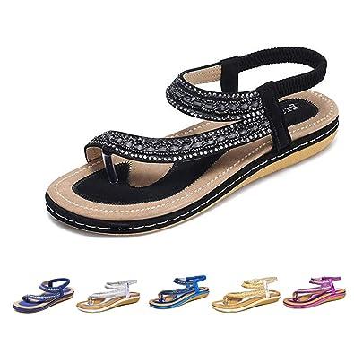 2cfe8988b21c6 gracosy Women Summer Flat Sandals, Ladies Slip On Clip Toe Flip Flops Post  Thong Walking Sandals Shoes Rhinestone Elastic Slingback Peep Toe Soft Low  ...