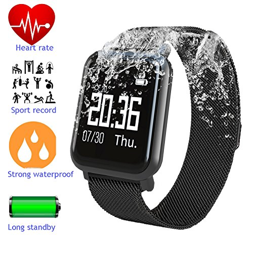 EarnCore Fitness Tracker Smart Watch for Men Women Kids - Bluetooth Waterproof Touch Screen Smart Wrist Watch with Heart Rate Monitor Blood Pressure Monitor Health Activity Tracker Metal Black by EarnCore
