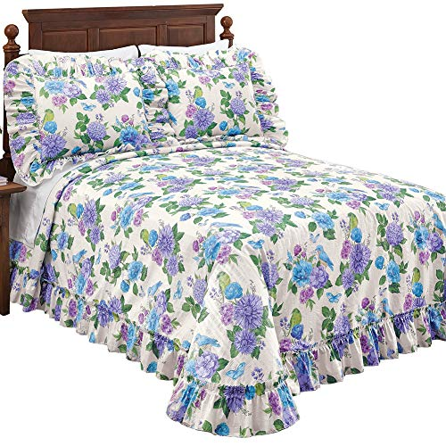 Collections Etc Birds and Butterflies Floral Ruffled Bedspread - Decorative Bedroom Accent, Purple, Full