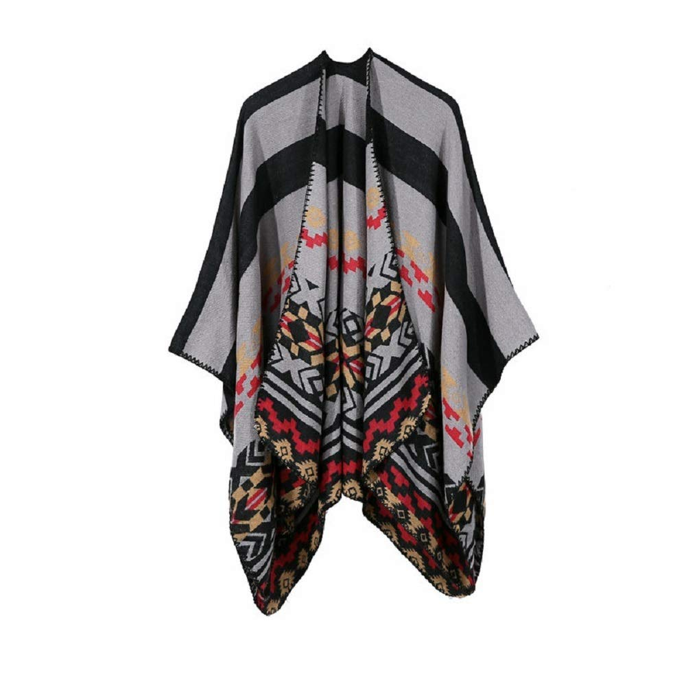 Excellent Women's Fall Winter Scarf Cloak Tassel Cape Mantle Scarf Ardent Gentle Kerchief Wrap Shawl Scarves (Color : Black, Size : 51.1 x 59.06 Inch') by Excellent