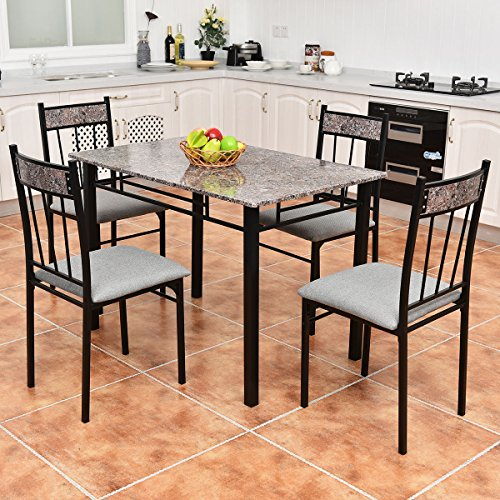 Tangkula 5 piece metal frame dining set table and 4 chairs for Kitchen set node attributes