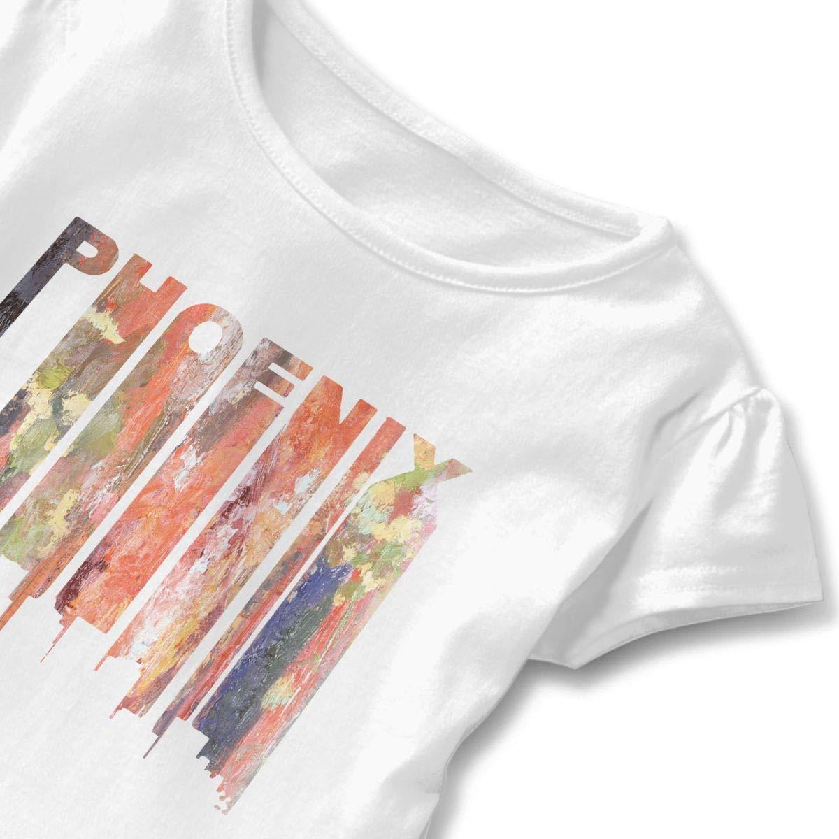 Retro 1970s Style Phoenix Arizona Toddler Baby Girls Short Sleeve Ruffle T-Shirt
