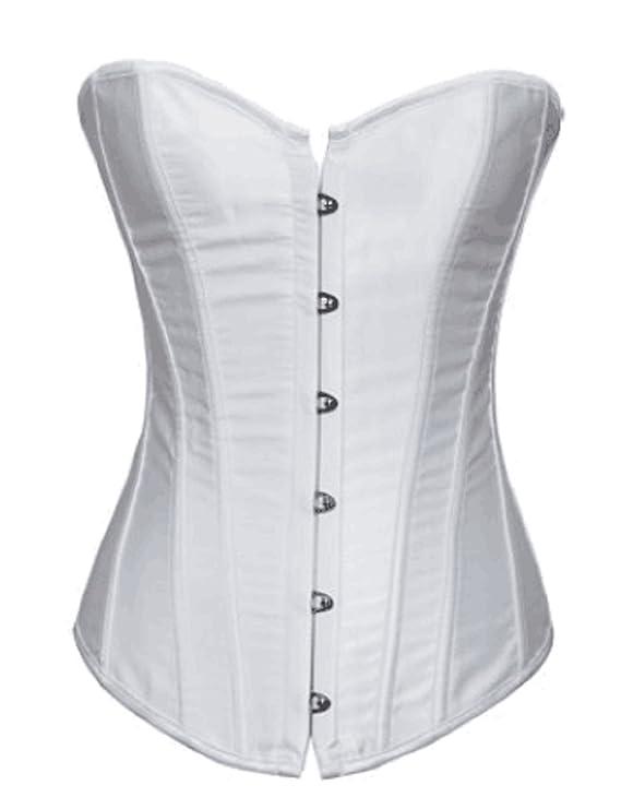 d46b468e2f7 New white plain satin boned lace up overbust corset basques wedding top  clubwear plus size 8-24 (S-UK-8)  Amazon.co.uk  Clothing