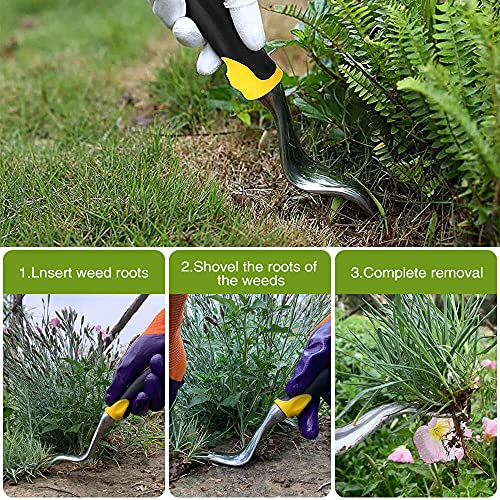 SUPERBEAR Garden Hand Weeder, 2 Pieces Weed Removal Tool with Ergonomic Handle Garden Weeding Tools for Garden Lawn Farmland Transplant