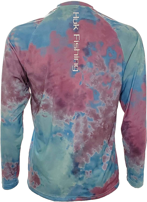 HUK Mens Tie Dye Pursuit Long Sleeve Performance Fishing Shirt Blue Radiance Large