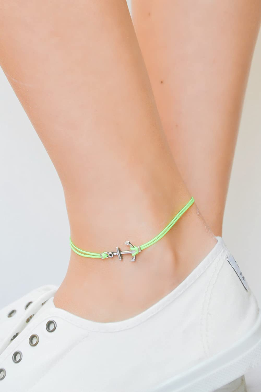 Anchor anklet, yellow ankle bracelet with silver anchor charm, neon ankle bracelet, gift for her, nautical, minimalist jewelry, sailing boat