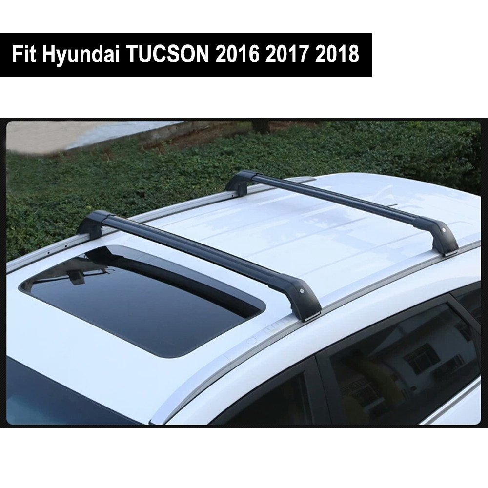 Fit for Hyundai Tucson 2016 2017 2018 Lockable Baggage Luggage Racks Roof Racks Rail Cross Bar Crossbar - Black KPGDG