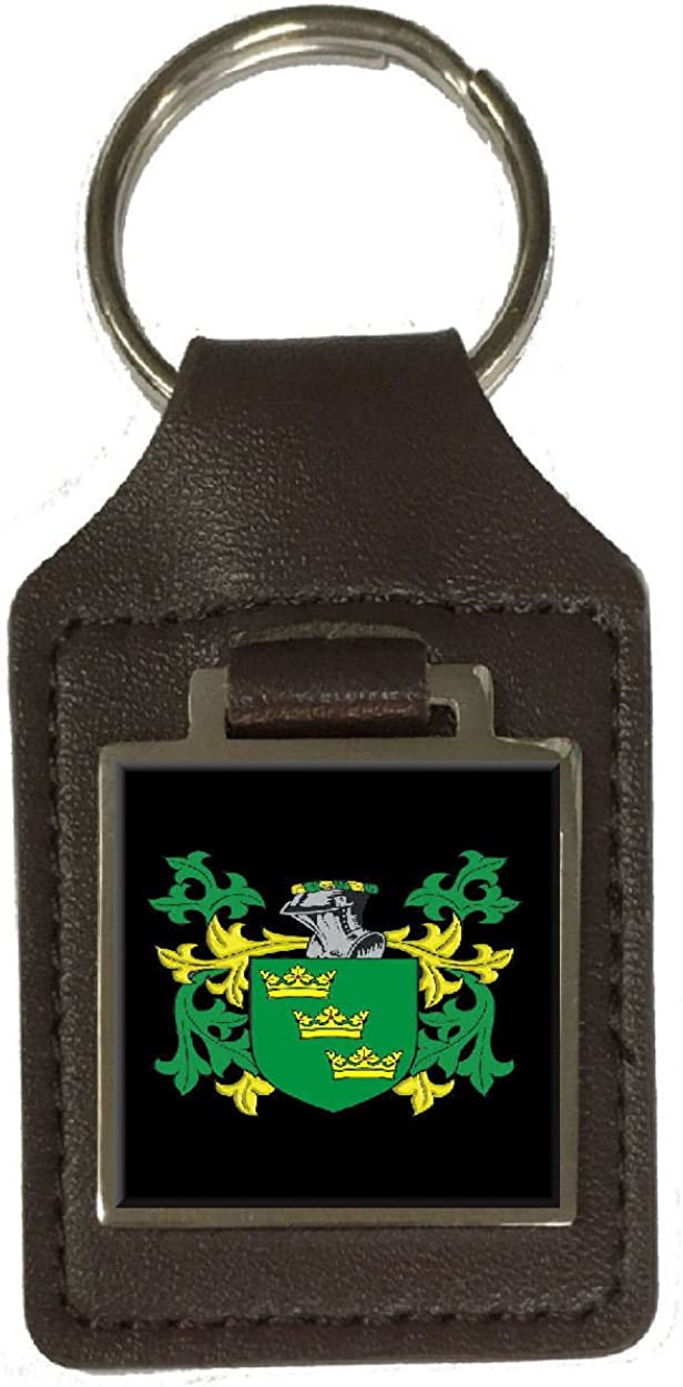 OHare Family Crest Surname Coat Of Arms Brown Leather Keyring Engraved