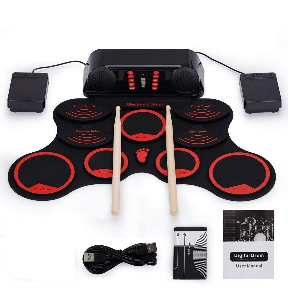 Roll Up Drum Kit, 9 Silicon Pads Roll Up Electronic Drum Set USB MIDI Practice Drum Kit With Double Built-in Stereo Speaker Output Headphone Jack Sustain Pedals Drum Sticks Recording Playback Function