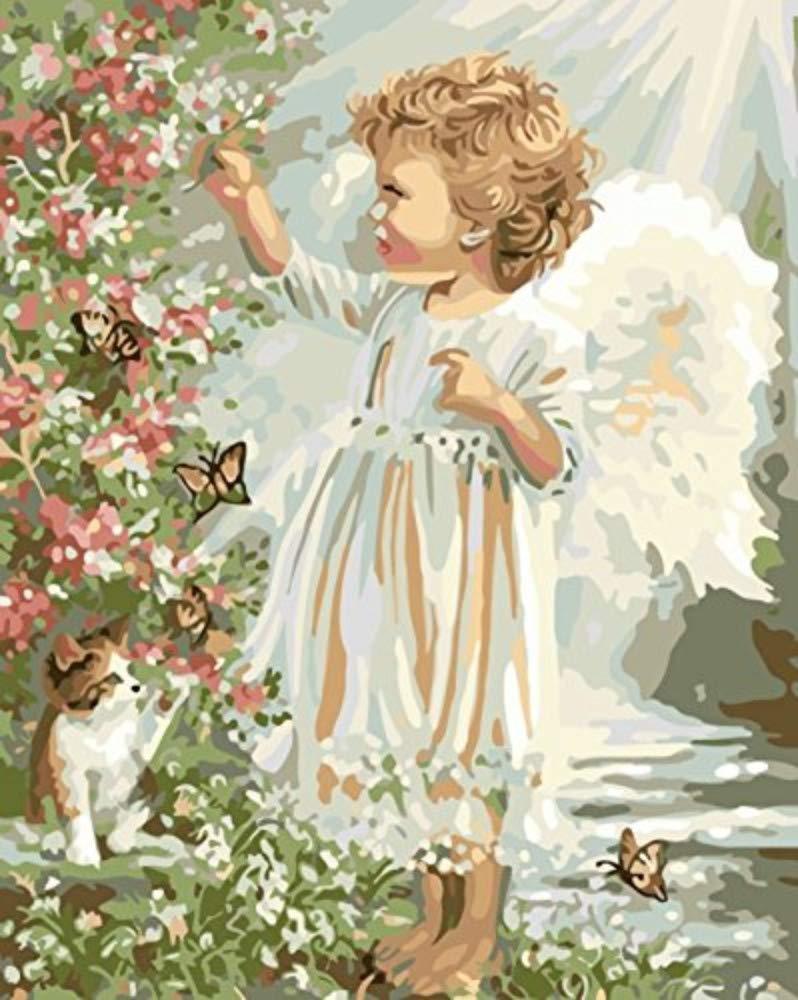 DIY Malen Nach Zahlen Für Erwachsene Ngel Baby Cat Butterfly Blaumen Garten Für Kinder Alter 8 9 40x50cm with Combination Frame B07PSBF2TD | Hochwertige Produkte