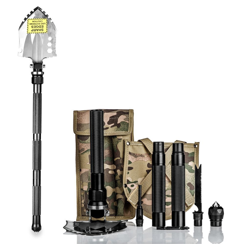 BAALAND Folding Shovel, Camping Shovel Tactical Survival Tools with Carry Bag for Hiking Backpacking Fishing Car Emergency