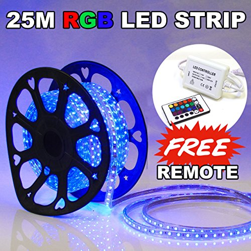 25M / 83FT LED Flex Light Rope Party Home Decoration Outdoor Multi-Color RGB with FREE Remote by LED POST