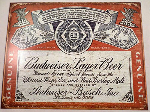 Mostly Signs Budweiser Lager Weathered Label Tin Sign Man Cave Wall Art Bar Related #1751 (Budweiser Tin Sign Label)