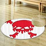 Nalahomeqq Skulls Decorations Collection Skull and Blooms Catholic Popular Ceremony Celebrating Artistic Design Polyester Fabric Room Circle carpet non-slip Red-Diameter 130cm(51'')