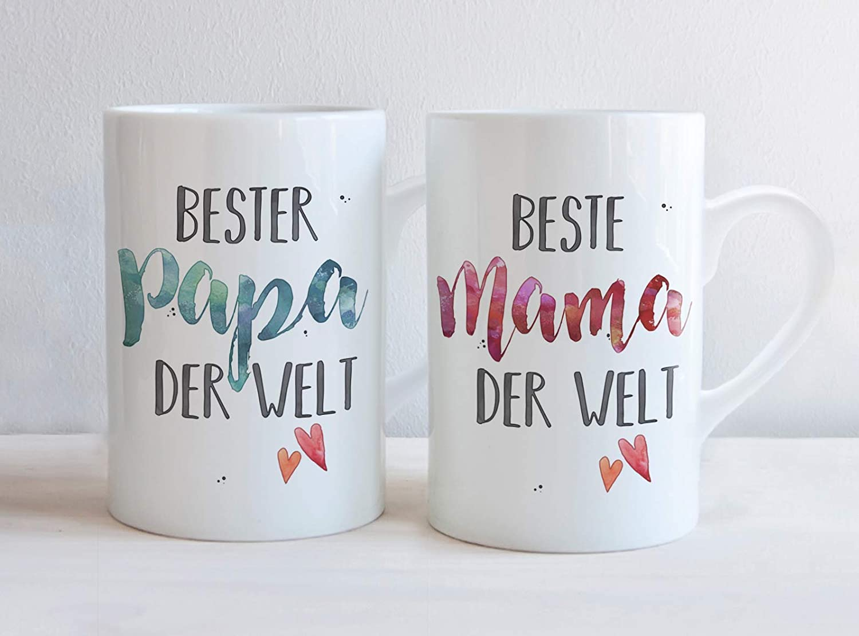 Tassen Set ODER einzeln individuell Muttertag Beste MAMA /& PAPA Vatertag personalisierbar Geschenk