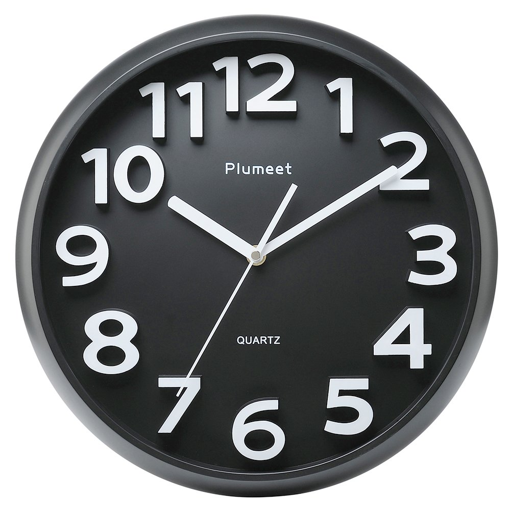 Plumeet 13'' Large Wall Clock, Non-Ticking Silent Quartz Decorative Clocks, Modern Style Good for Home Kitchen Living Room Bedroom Office, Big 3D Number Display, Battery Operated (Black) Elemall EU EMIT-8016-BL