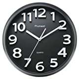 """Large Number Wall Clock, Plumeet 13"""" Silent Non-ticking Quartz Decorative Wall Clock, Modern Style Good for Living Room & Home & Office Battery Operated (Black)"""