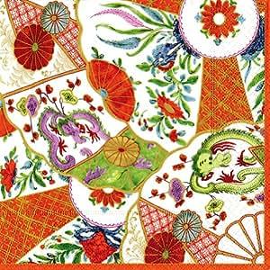 Caspari Entertaining 20-Pack Imari Coral Luncheon Napkins