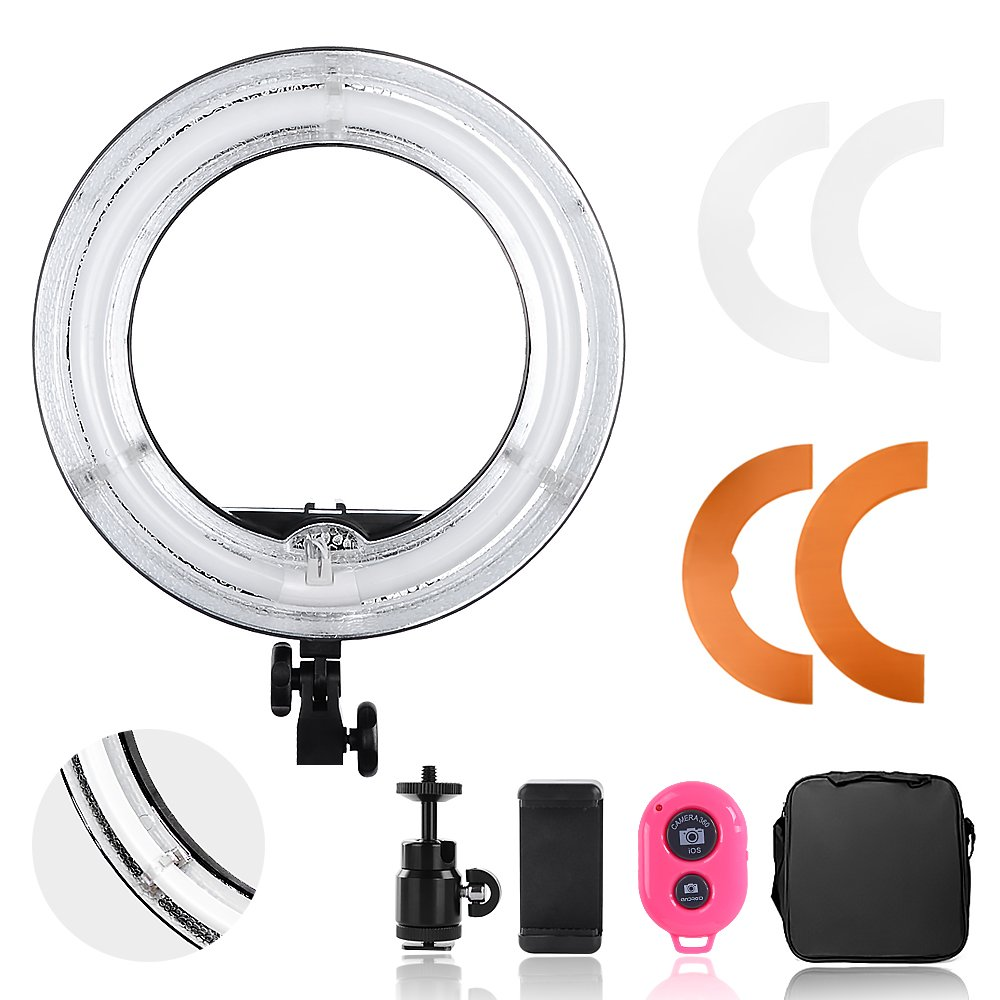 Hakutatz Pro Dimmable Camera Photo Video 14 inches Ring Light 45W Fluorescent Flash Light 5500K with Bag, Plastic Color Filter Set, Swivel Mini Ball Head, Cellphone Clip Holder, Bluetooth Receiver