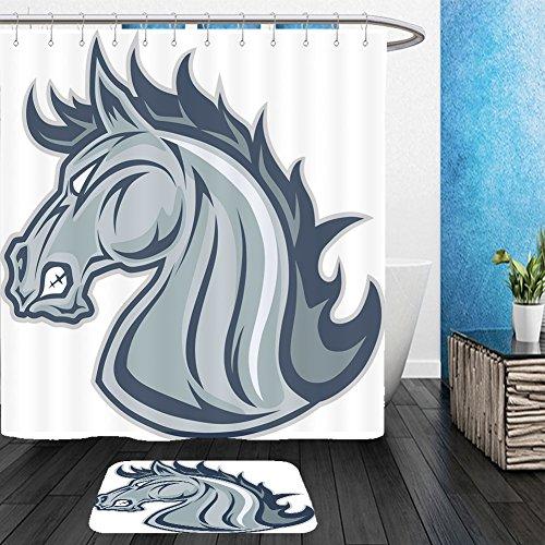 Mascot Costumes Ebay (Vanfan Bathroom 2?Suits 1 Shower Curtains & ?1 Floor Mats horse or mustang head mascot 410350756 From Bath room)